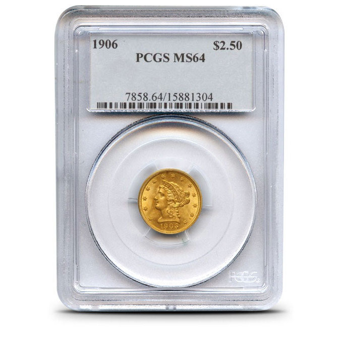$2.50 Liberty PCGS MS64 Gold Quarter Eagle Obverse