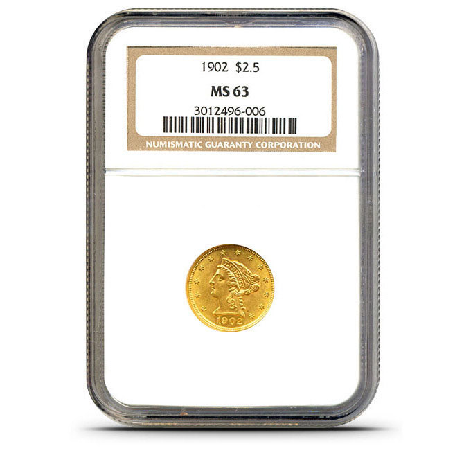 $2.50 Lib NGC MS63 Gold Quarter Eagle Coin