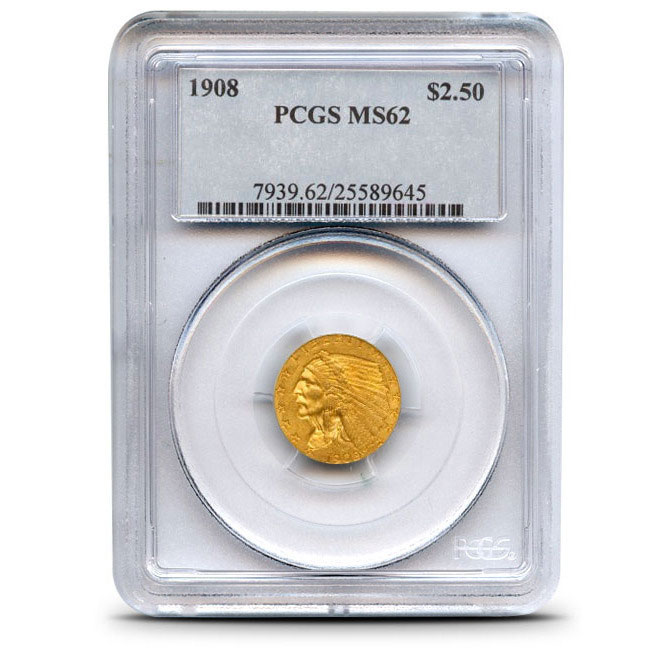 $2.50 Indian Head PCGS MS62 Gold Quarter Eagle Coin Obverse