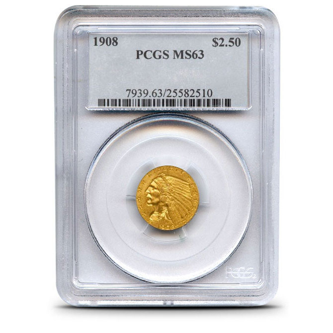 $2.50 Indian Head PCGS MS63 Gold Quarter Eagle Coin Obverse
