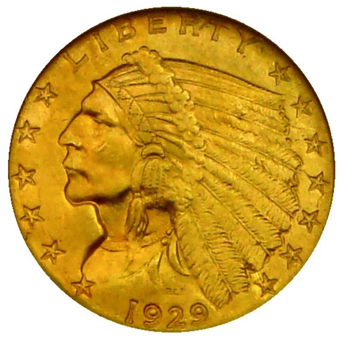 $2.50 Indian Head NGC MS62 Gold Quarter Eagle Coin Obverse