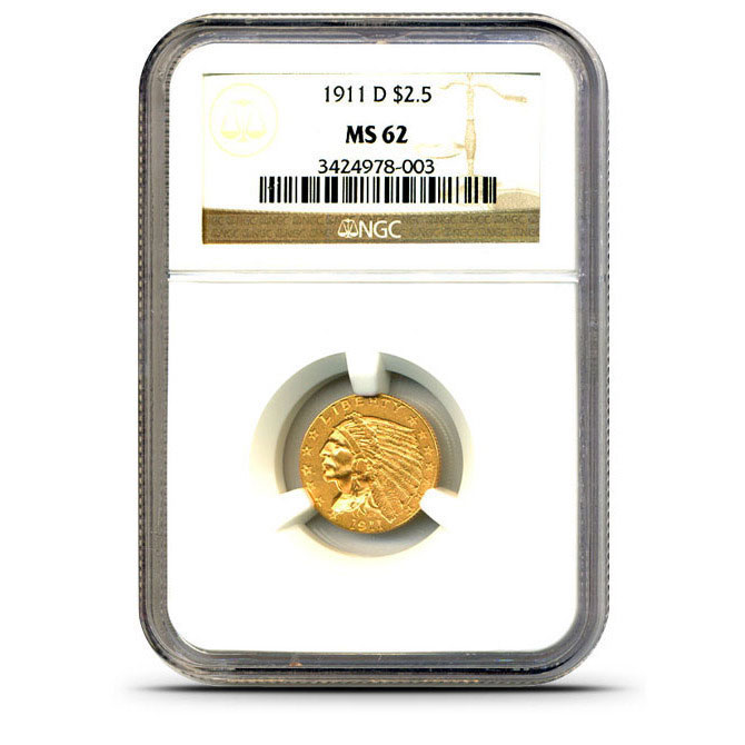 $2.50 Indian Head NGC MS62 Gold Quarter Eagle Coin Slabbed