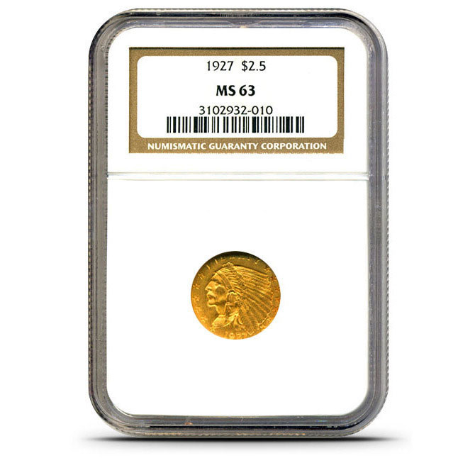 $2.50 Indian Head NGC MS63 Gold Quarter Eagle Coin Slabbed