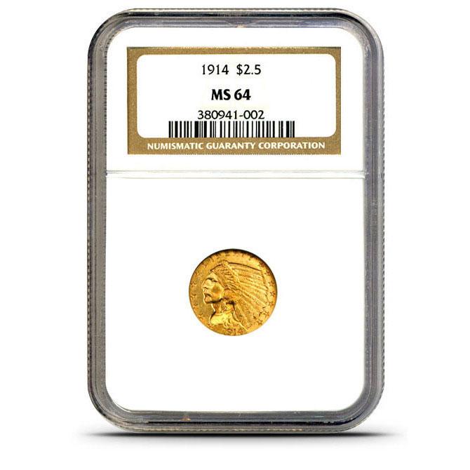 $2.50 Indian Head NGC MS64 Gold Quarter Eagle Coin Slabbed