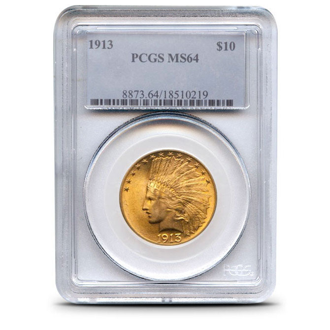 $10 US Gold Eagle Indian Head PCGS MS64 Obverse