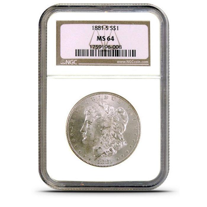 NGC MS64 Pre 1921 Morgan Silver Dollar Slabbed