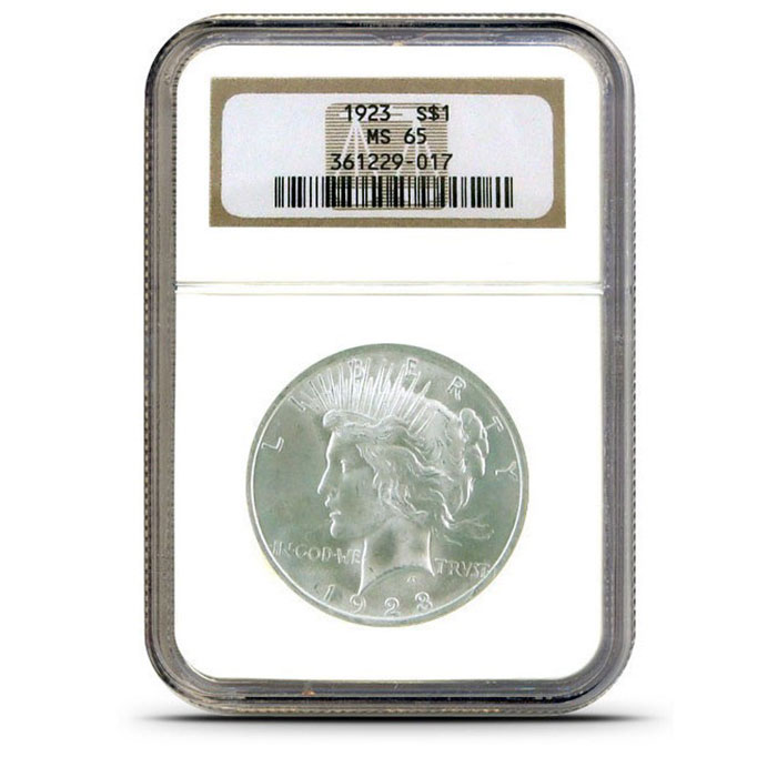 NGC MS65 Silver Peace Dollar Obverse