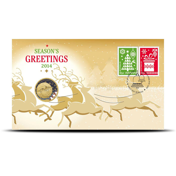 2014 Perth Mint Christmas Coin & Stamp Cover