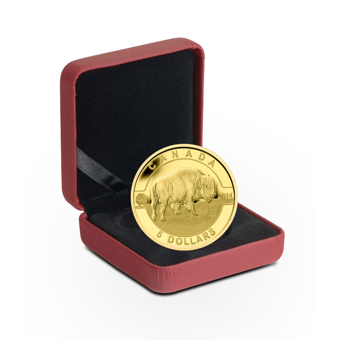 2014 1/10 oz $5 Gold Bison | O Canada Series Box
