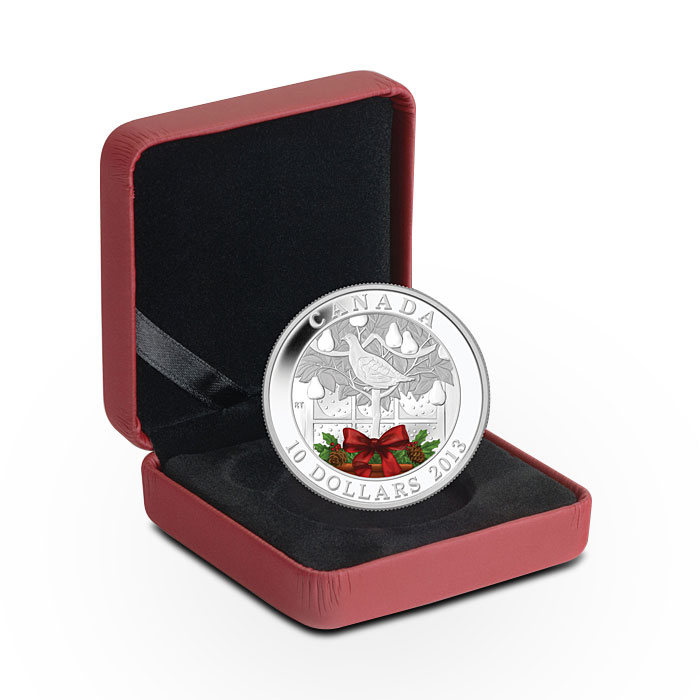 2013 1/2 oz Canadian Silver $10 Holiday Partridge in a Pear Tree Box