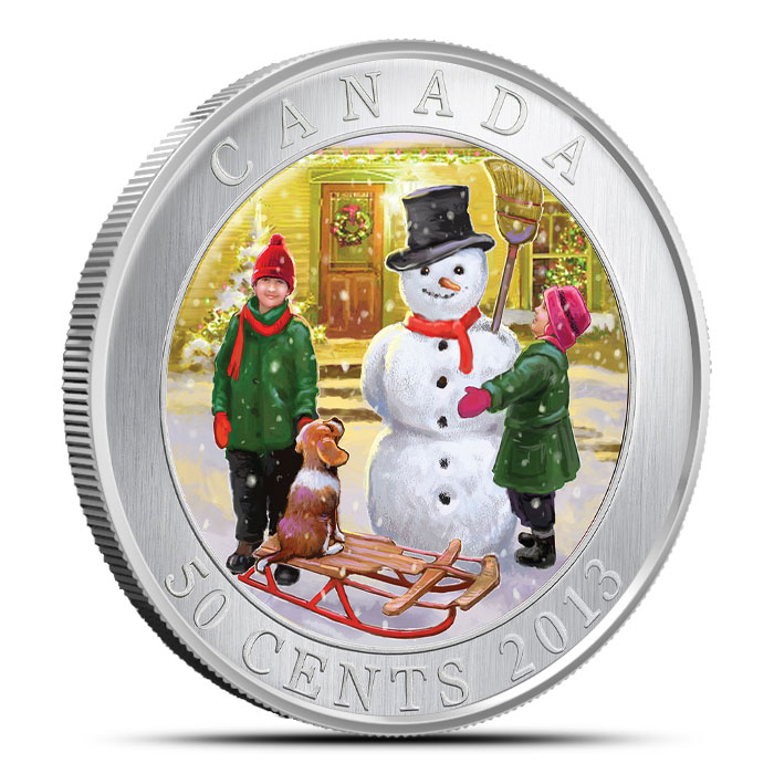 2013 50 Cent Canadian 3D Snowman Coin Obverse
