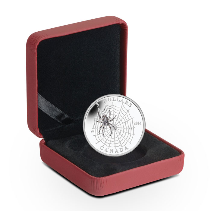 2013 1/4 oz silver Canadian Spider and Web Coin Box