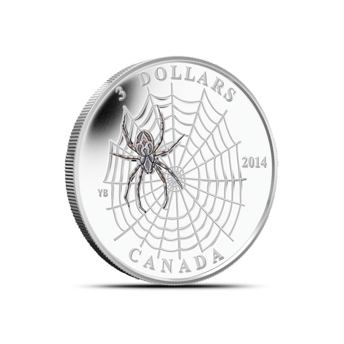 2013 1/4 ounce silver Canadian Spider and Web Coin Reverse
