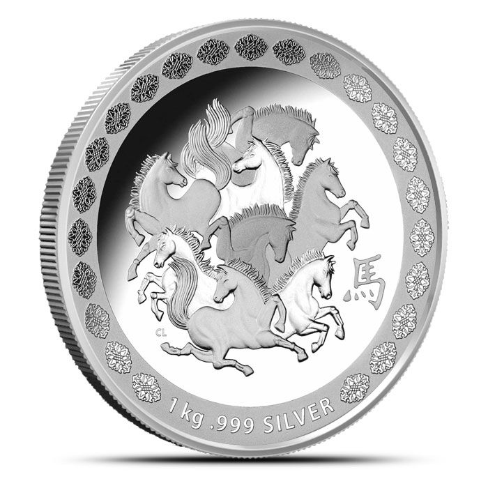 2014 RAM $30 1 kilo Silver Year of the Horse Coin | Lunar Series Obverse