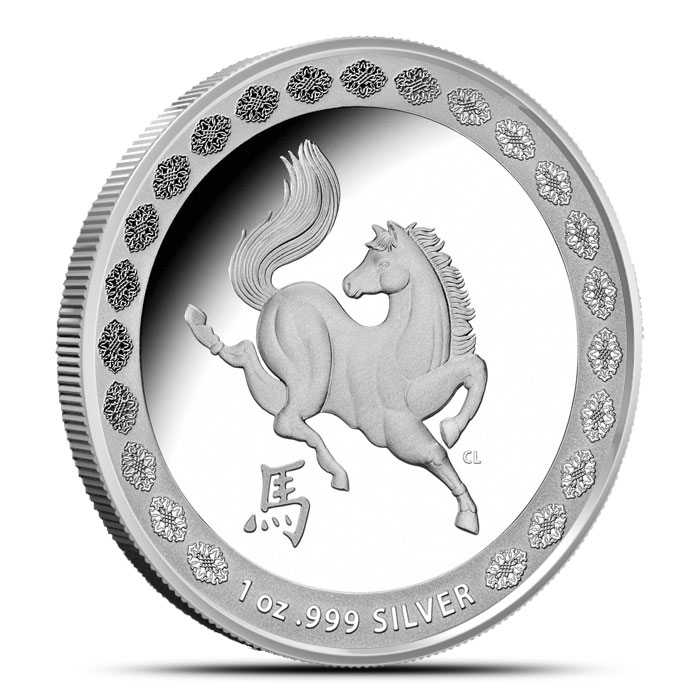 2014 RAM $1 1 oz Silver Year of the Horse Coin   Lunar Series Obverse