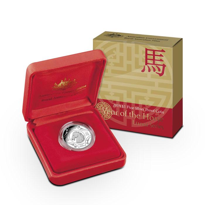 2014 RAM $1 1 oz Silver Proof Horse Coin Box