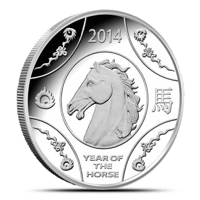 2014 RAM $1 1 oz Silver Proof Horse Coin Obverse