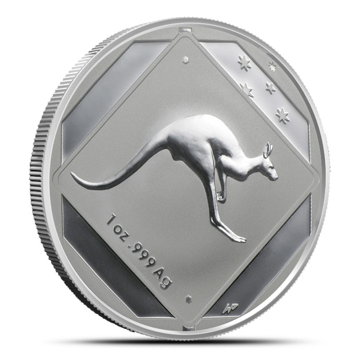 2013 RAM $1 1 oz Silver Kangaroo Road Sign Coin Obverse