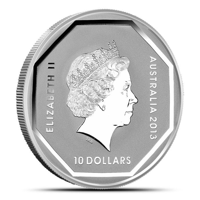 2013 RAM $10 5 oz Silver Kangaroo Road Sign Coin Reverse