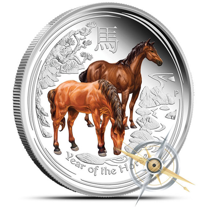 2014 Autralian Year of the Horse 1 oz Colorized Silver Coin Obverse
