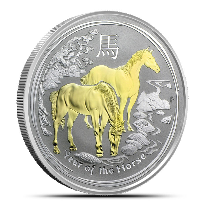 2014 Autralian Year of the Horse 1 oz Gilded Silver Coin Obverse