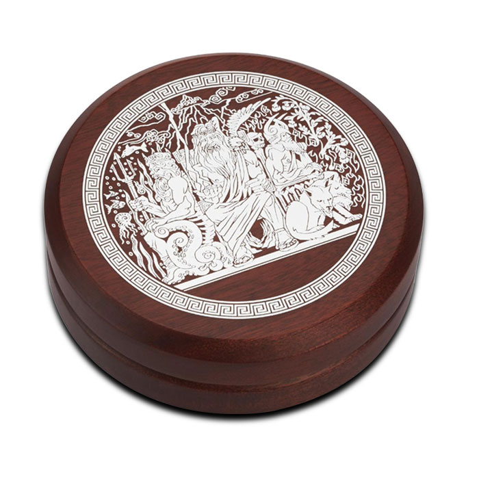 2014 Perth Mint 2 oz High Relief Silver Gods of Olympus | Zeus Round Display Case