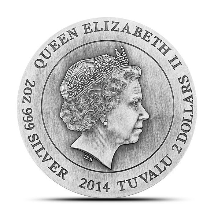 2014 Perth Mint 2 oz High Relief Silver Gods of Olympus | Zeus Obverse