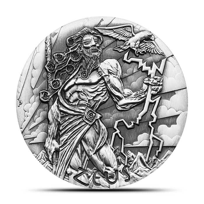 2014 Perth Mint 2 oz High Relief Silver Gods of Olympus | Zeus