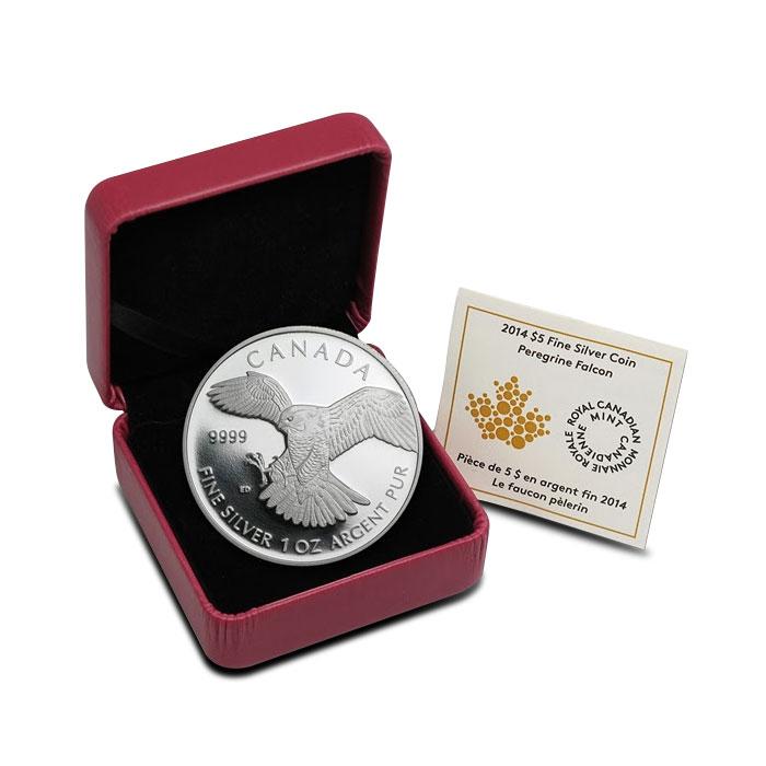 2014 1 oz Canadian Silver Proof Peregrine Falcon Box