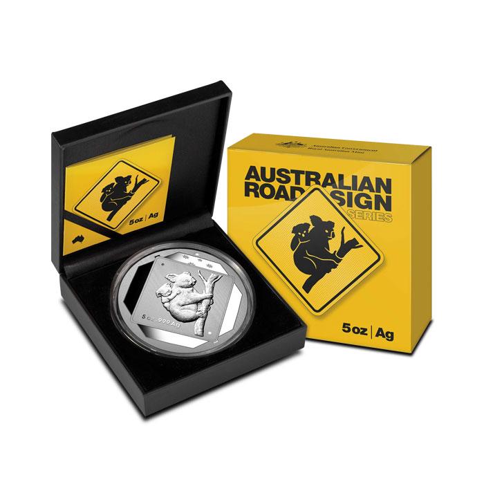 2014 5 oz Silver Koala Road Sign Coin Box