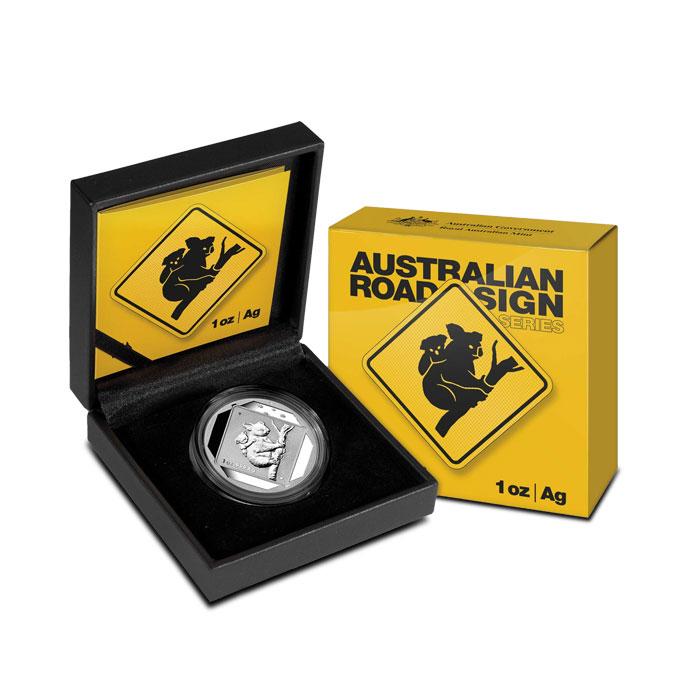 2014 1 oz Silver Koala Road Sign Coin Box