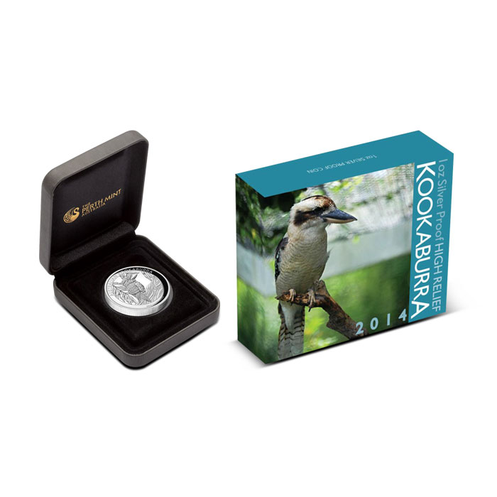 2014 1 oz Proof Silver Kookaburra | High Relief Box