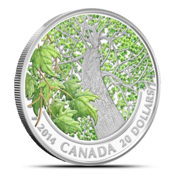 2014 1 oz $20 Silver Maple Canopy | Spring Splendour