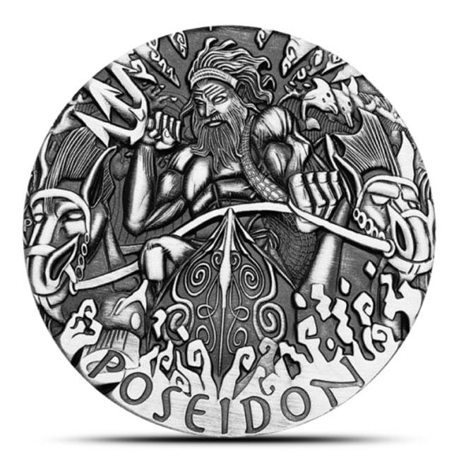 2014 2 oz Silver High Relief Gods Of Olympus | Poseidon