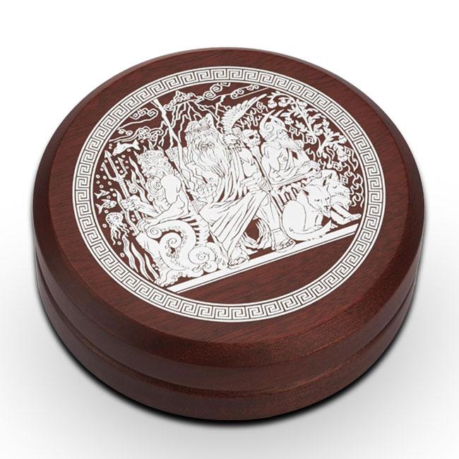 2014 2 oz Silver High Relief Gods Of Olympus | Poseidon Wooden Box