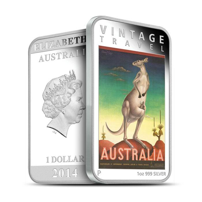 2014 1 oz Silver Proof Rectangle Kangaroo Coin | Vintage Travel Poster