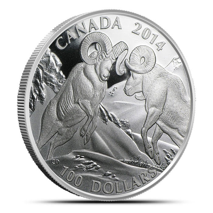 2014 1 oz Canadian Silver $100 | Rocky Mountain Bighorn Sheep