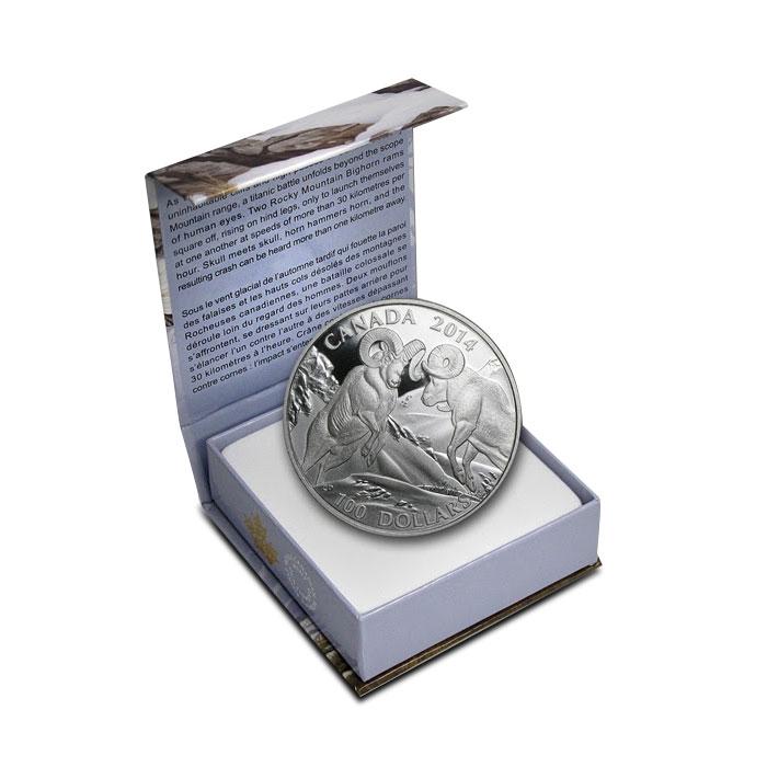 2014 1 oz Canadian Silver $100 | Rocky Mountain Bighorn Sheep Box
