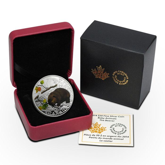 2014 Silver $20 Baby Animals   The Beaver Box