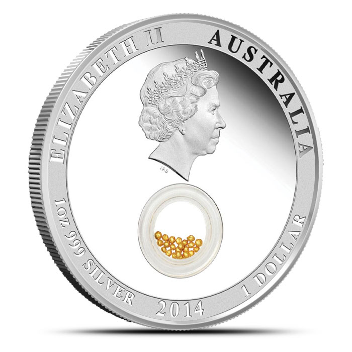 2014 Australia 1 oz Silver Proof Locket coin with Gold   Treasures of the World Reverse