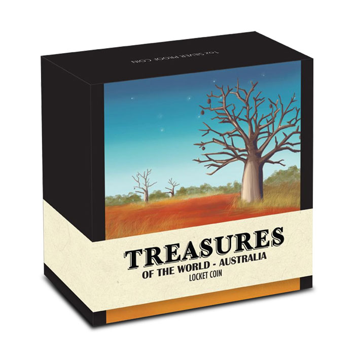2014 Australia 1 oz Silver Proof Locket coin with Gold   Treasures of the World Box