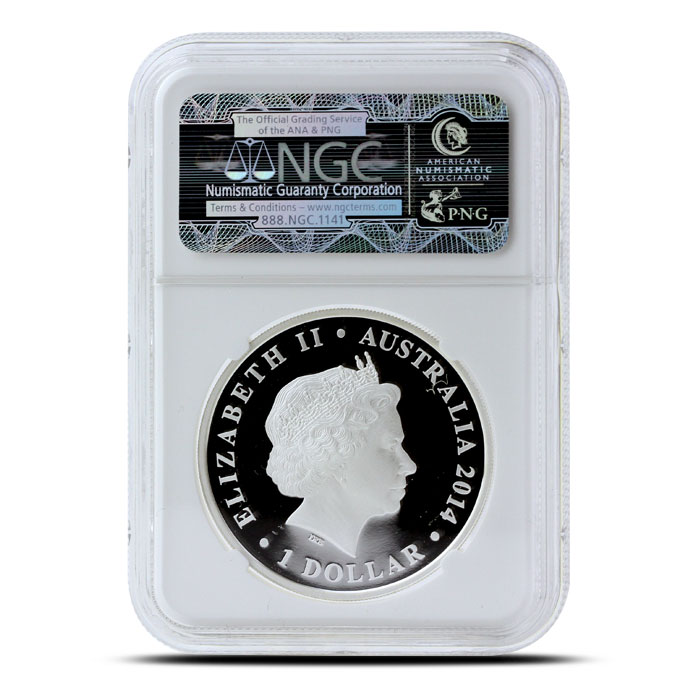 2014 1 oz Proof Silver Australian Megafauna | Megalania NGC PF70 Reverse