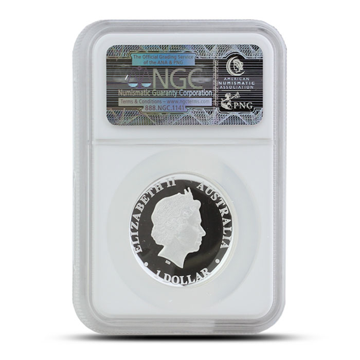 2014 1 oz Proof Silver Kangaroo | High Relief NGC PF69 Reverse