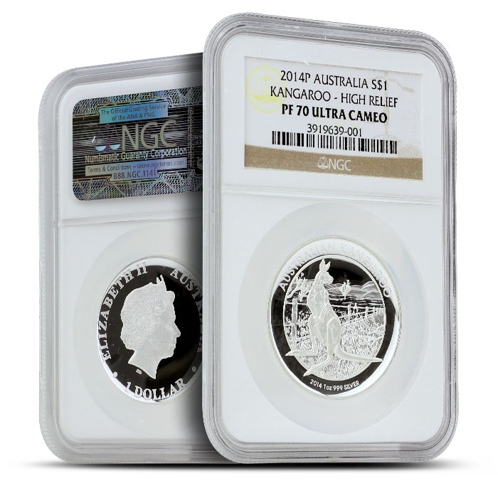 2014 1 oz Proof Silver Kangaroo | High Relief NGC PF70