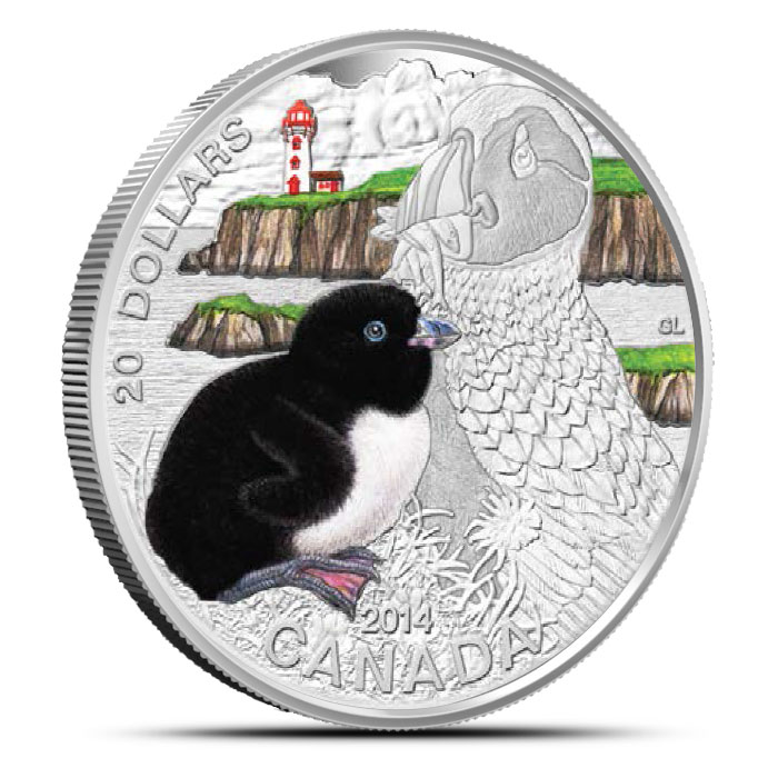 2014 Silver $20 The Atlantic Puffin | Baby Animals