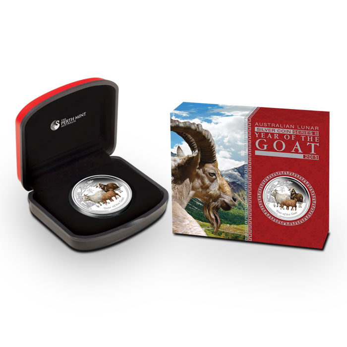 2015 Australian Year of the Goat 1 oz Colorized Silver Proof Coin | Lunar Series II Box