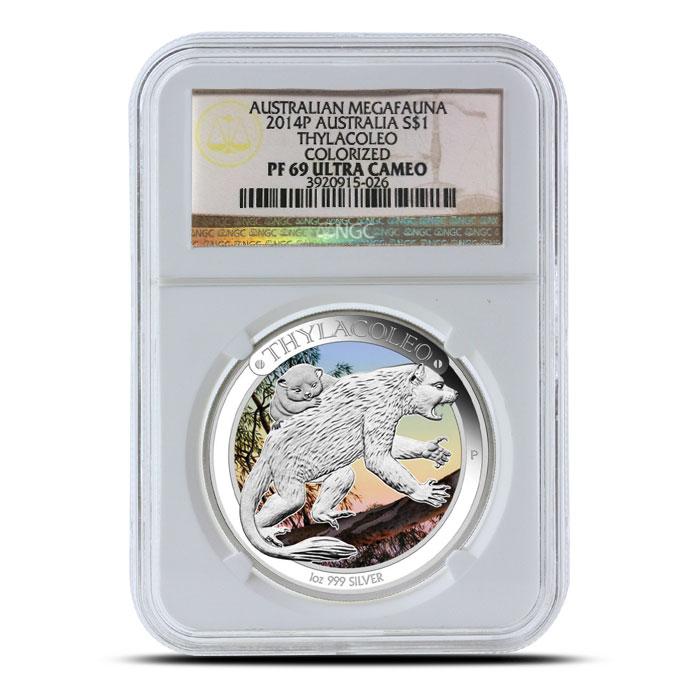 2014 1 oz Proof Silver Australian Megafauna | Thylacoleo NGC PF69