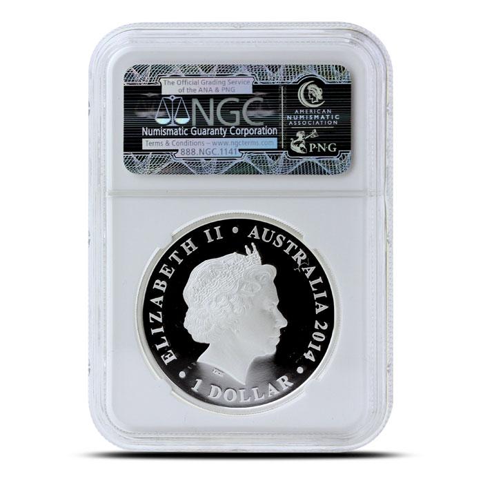 2014 1 oz Proof Silver Australian Megafauna | Thylacoleo NGC PF70 Reverse