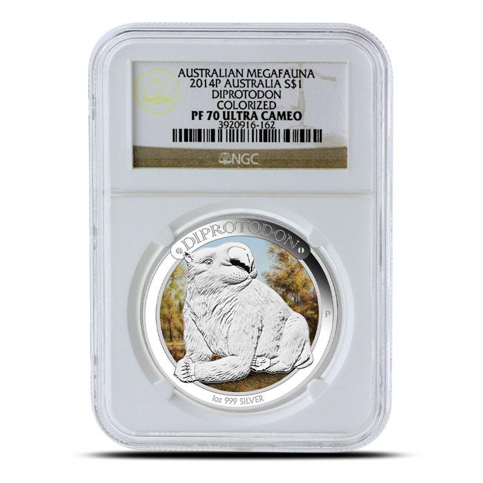 2014 1 oz Proof Silver Australian Megafauna | Diprotodon NGC PF70
