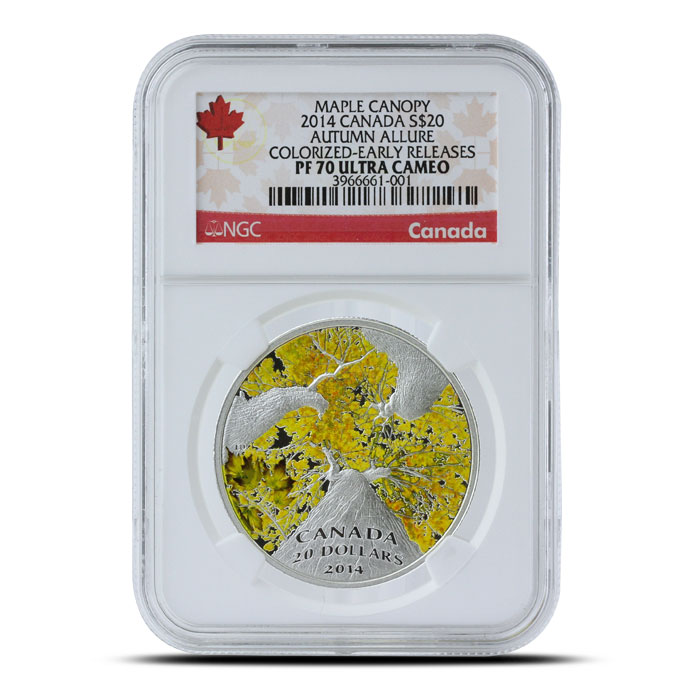 2014 1 oz $20 Silver Maple Canopy | Autumn Allure NGC PF70 Obverse